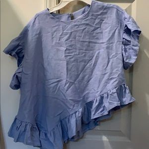 asymmetrical blue linen top